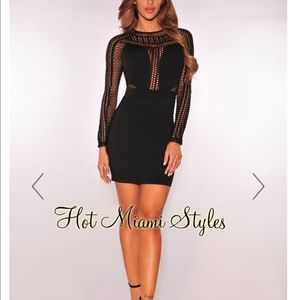 Black Net Long Sleeve Dress Hot Miami Styles